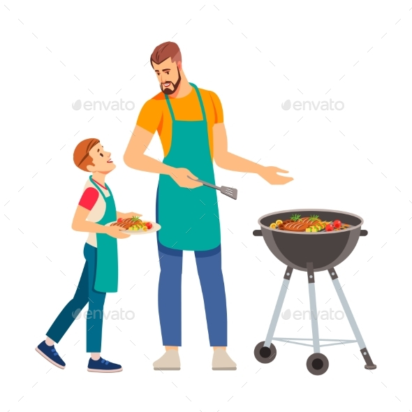 Father and Son Having a Barbecue Party in Their