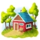 Red House With Garden - GraphicRiver Item for Sale