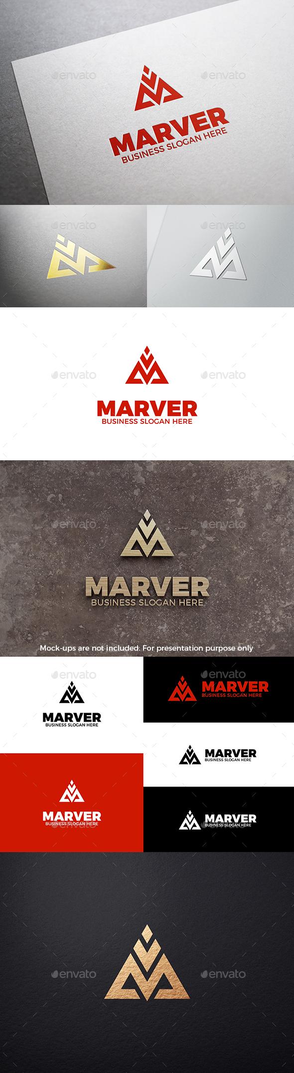 M V Letter Triangle Logo