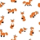 Cute Foxes Seamless Pattern - GraphicRiver Item for Sale