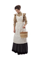 Young prairie woman with apron and basket looking down isolated on white - PhotoDune Item for Sale