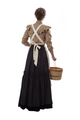 Young prairie woman with apron and basket walking away isolated on white - PhotoDune Item for Sale
