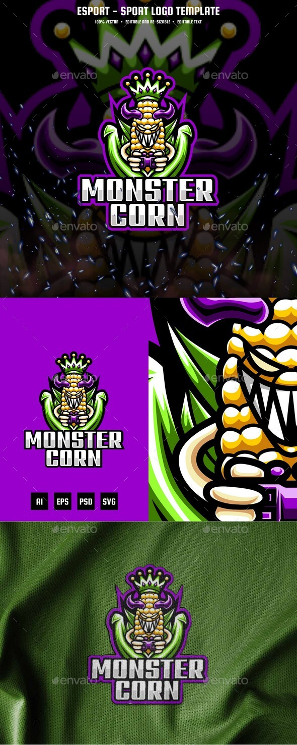 Monster Corn E-sport and Sport Logo Template