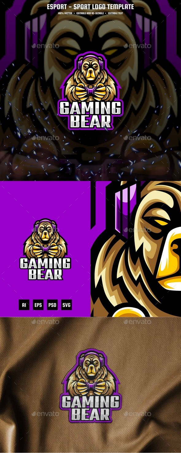 Gaming Bear E-sport and Sport Logo Template