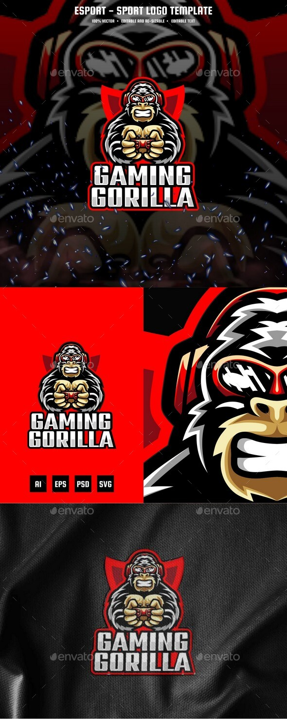 Gaming Gorilla E-sport and Sport Logo Template