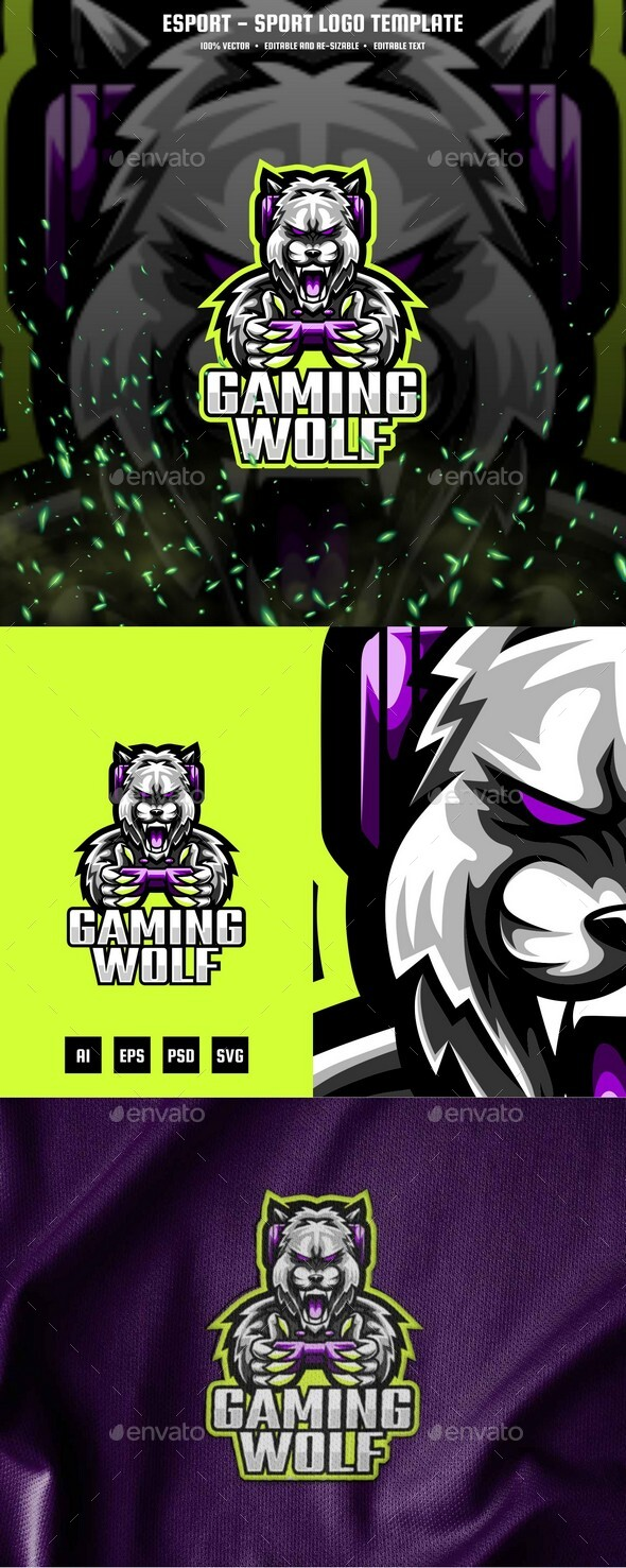 Gaming Wolf E-sport and Sport Logo Template