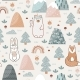 Seamless Pattern with Cute Forest Animals Flowers - GraphicRiver Item for Sale