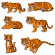 Set of Six Tigers Cartoon Collection - GraphicRiver Item for Sale