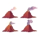 Volcanic Eruption Stages with Lava Fire and Smoke - GraphicRiver Item for Sale