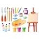 Artist Tools Brushes Palette Easel and Paints - GraphicRiver Item for Sale