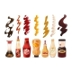 Set of Different Sauces in Bottles and Strokes - GraphicRiver Item for Sale