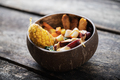 Coconut bowl full of balanced organic meal - PhotoDune Item for Sale