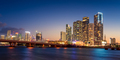 Miami City Skyline and MacArthur Causeway at Night, Florida - PhotoDune Item for Sale