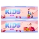 Banners with Kids on Playground in Kindergarten - GraphicRiver Item for Sale