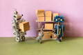 Robots sort the parcels on the rack. automation of storage processes in warehouses - PhotoDune Item for Sale