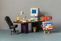 Retro office interior workspace and robot manager. - PhotoDune Item for Sale