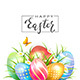 Colored Easter Eggs and Butterfly on White Background - GraphicRiver Item for Sale
