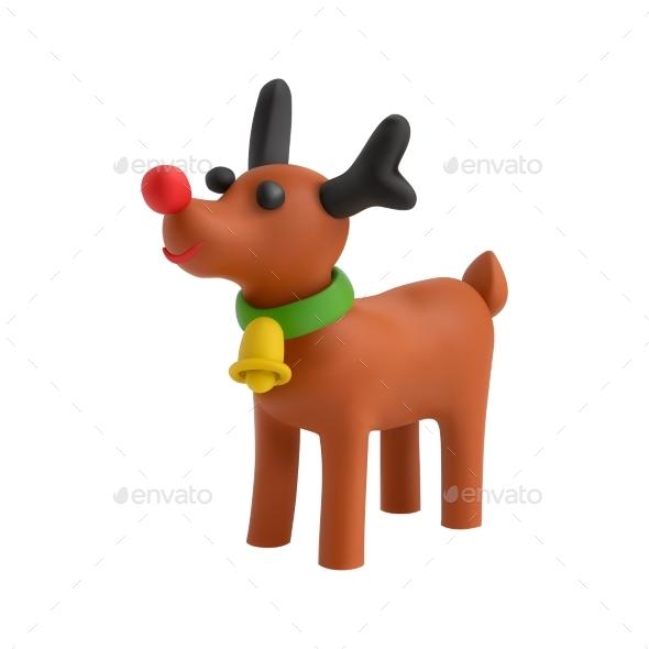 Plasticine Deer Christmas Composition
