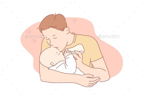 Love Fatherhood Family Care Concept