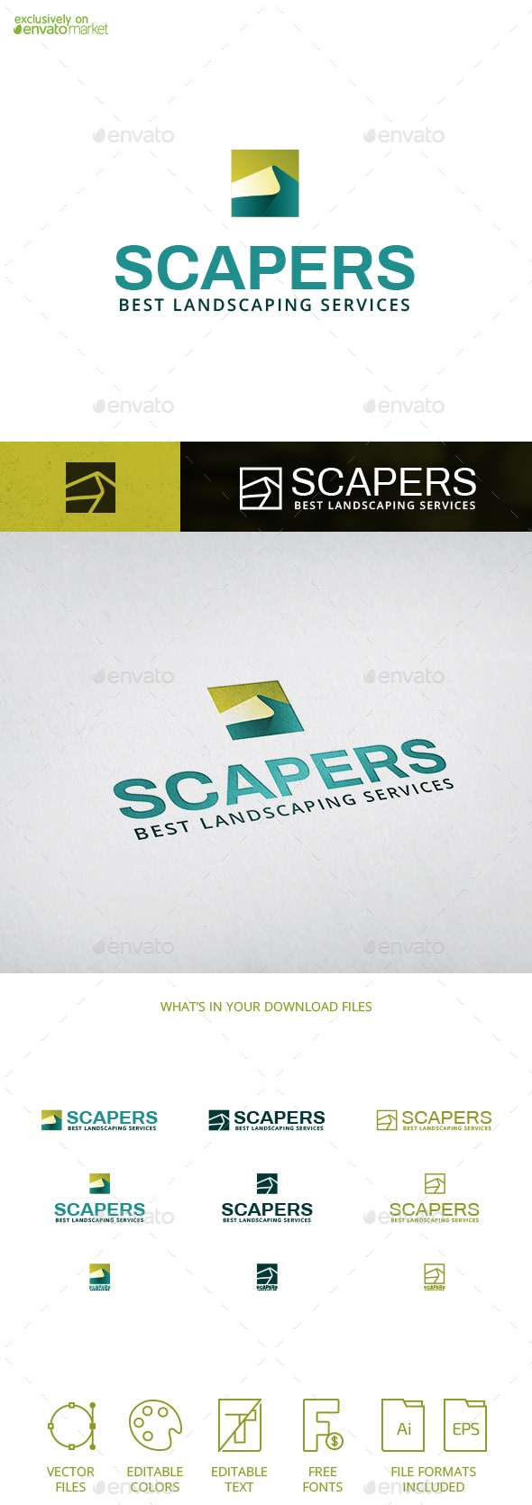 Scapers Landscaping Design Tourism Mountain Nature Logo