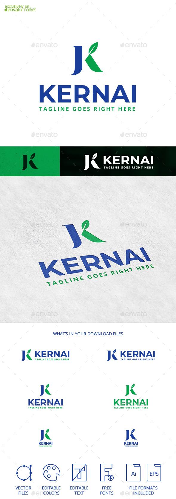 Kernai Letter K Leaf Logo Template