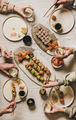 Lockdown home dinner with Japanese sushi from delivery takeaway service - PhotoDune Item for Sale