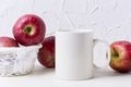 White coffee mug mockup with red apples in basket - PhotoDune Item for Sale