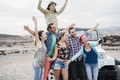 Crazy group of friends doing selfie outdoors during excursion in convertible 4x4 car - PhotoDune Item for Sale