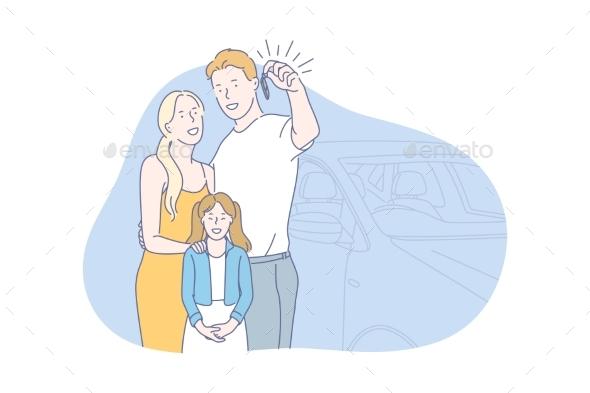 Car Buy Family Concept