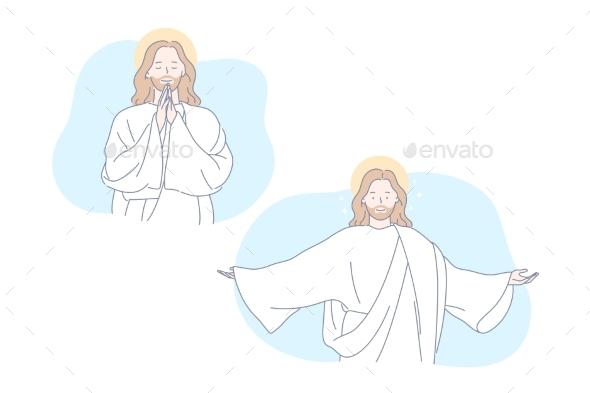 Jesus Bible Christianity Pray Set Concept
