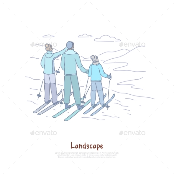 Landscape Tourism Parents with Child Skiing