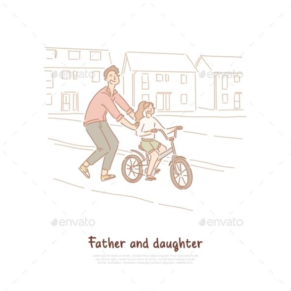 Single Father Dad Teaching Daughter Ride Bike