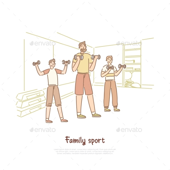 Family Sport Father with Sons Lifting Weights