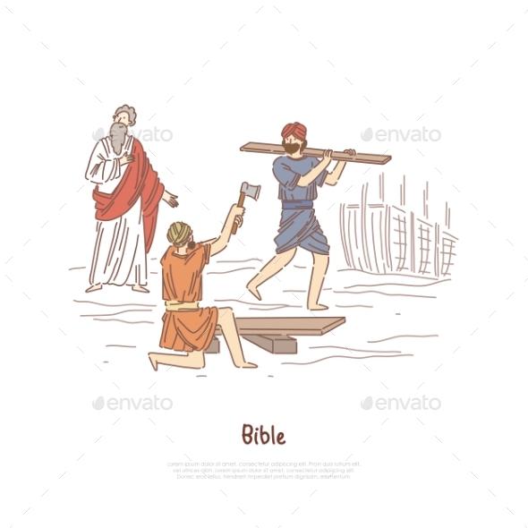 Noah Building Ark Myth Legend Bible Story Plot