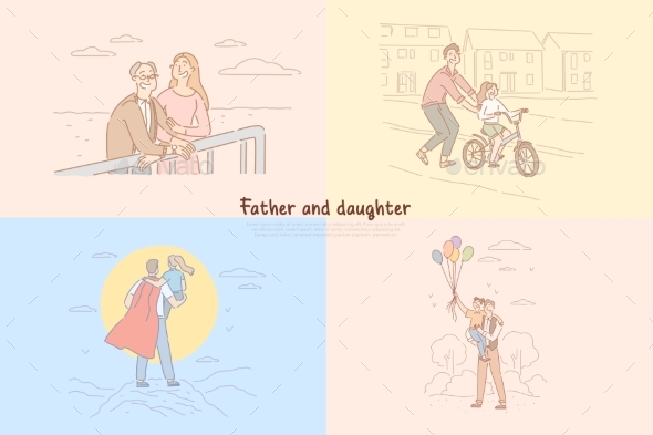 Father and Daughter Relationship Parent Teaching