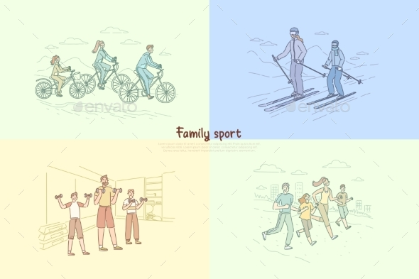 Family Exercising Together Parents with Children