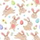 Easter Spring Pattern with Cute Bunnies Eggs - GraphicRiver Item for Sale