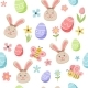 Easter Spring Pattern with Cute Bunny  - GraphicRiver Item for Sale