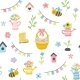 Easter Spring Pattern with Cute Eggs Flowers - GraphicRiver Item for Sale