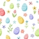 Easter Spring Pattern with Cute Eggs and Flowers - GraphicRiver Item for Sale