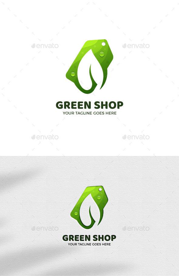 Green Shop Gradient Logo Template