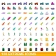 100 Extreme Icons Set Cartoon Style - GraphicRiver Item for Sale