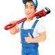 Plumber Man with Pipe Wrench. Work Occupation. Repair Service. - GraphicRiver Item for Sale