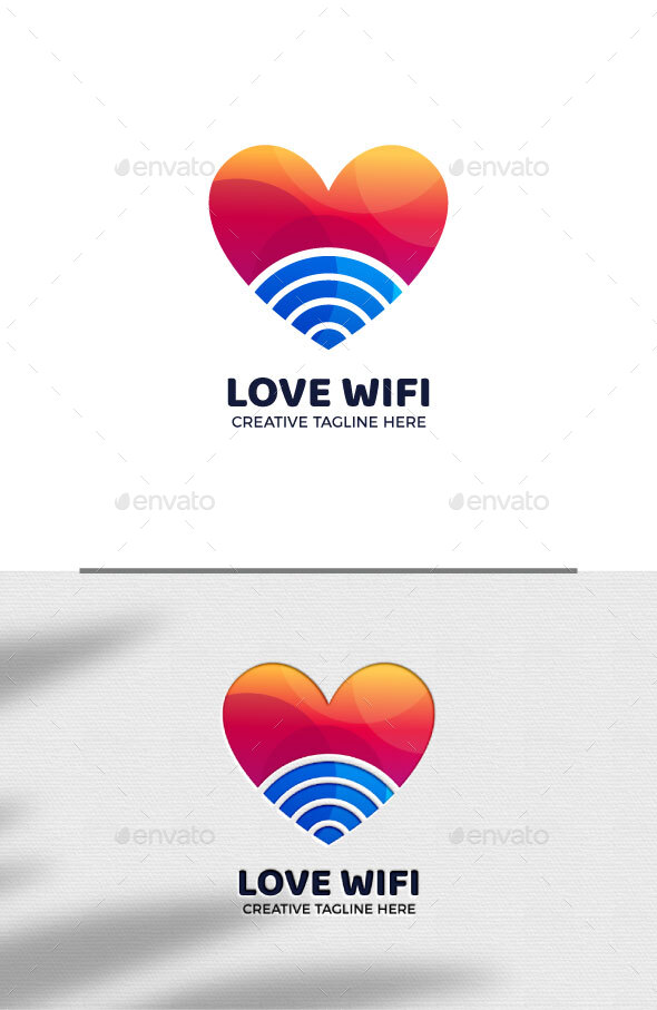 Love Wi Fi Internet Connection Logo Template