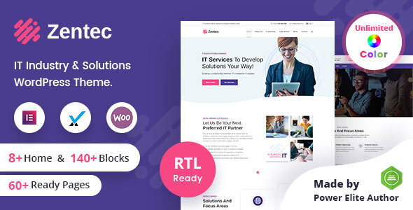 Zentec - IT Solutions Company WordPress Theme + RTL