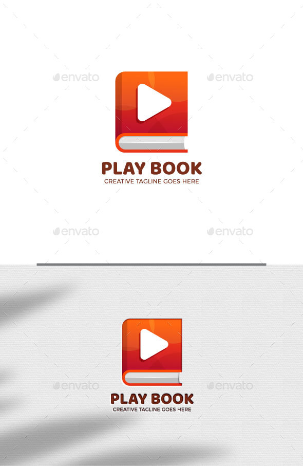 Book and Play Button Logo Template