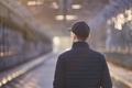 Lonely man walking on bridge at sunrise - PhotoDune Item for Sale