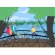 Cheerful People Walking Bridge Across River - GraphicRiver Item for Sale