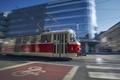 Tram of public transportation in blurred motion - PhotoDune Item for Sale