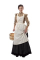 Young prairie woman with apron holding skirt and a basket isolated on white - PhotoDune Item for Sale